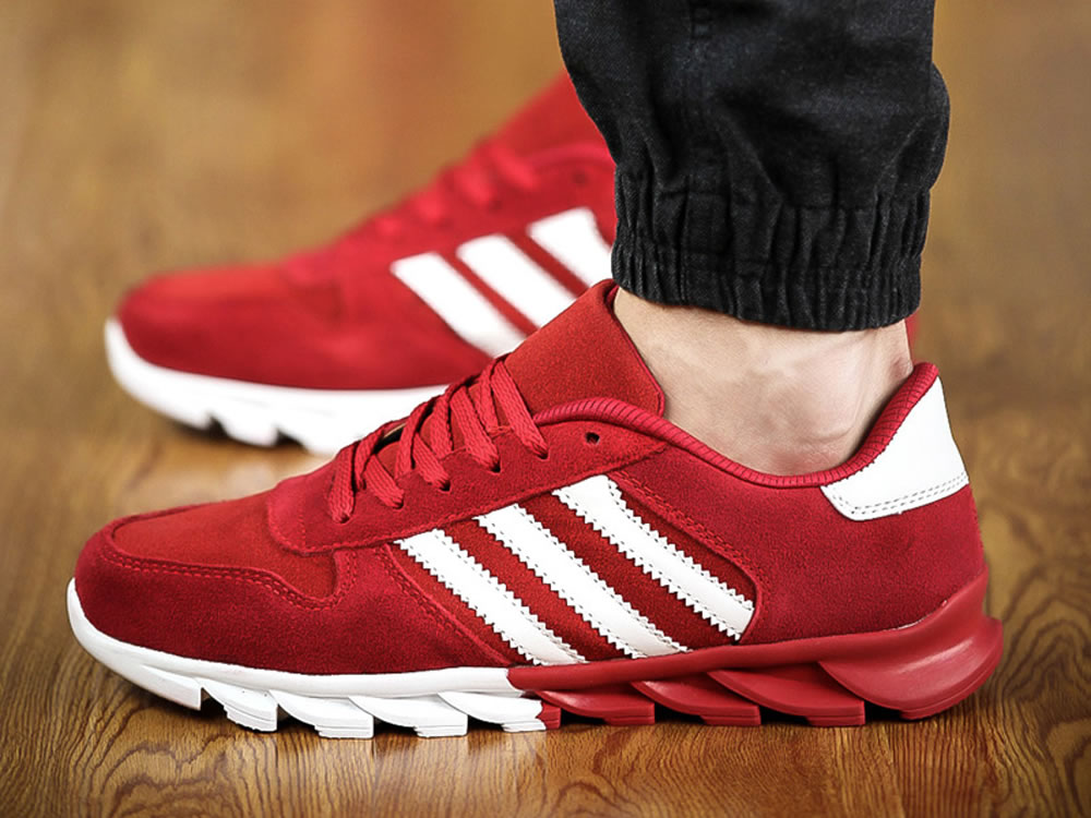 V17 Red Leather Vamp Fringe Lace up Breathable Running Shoes