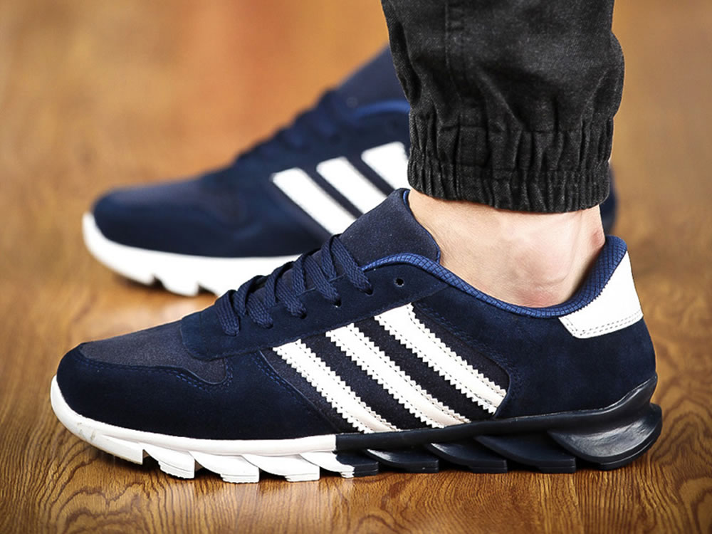 V17 Dark Blue Leather Vamp Fringe Lace up Breathable Running Shoes