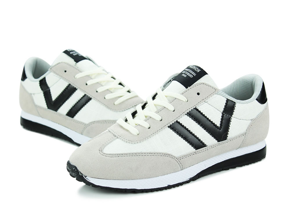 V17 White Breathable Leather V Design Lace up Leisure Running Shoes