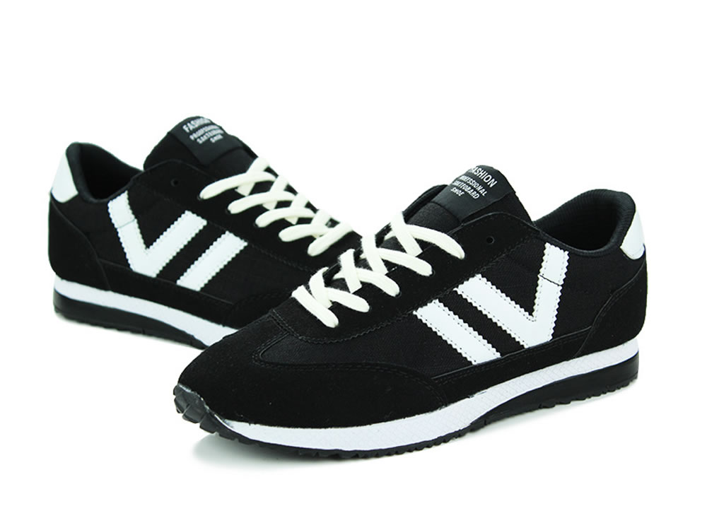 V17 Black Breathable Leather V Design Lace up Leisure Running Shoes