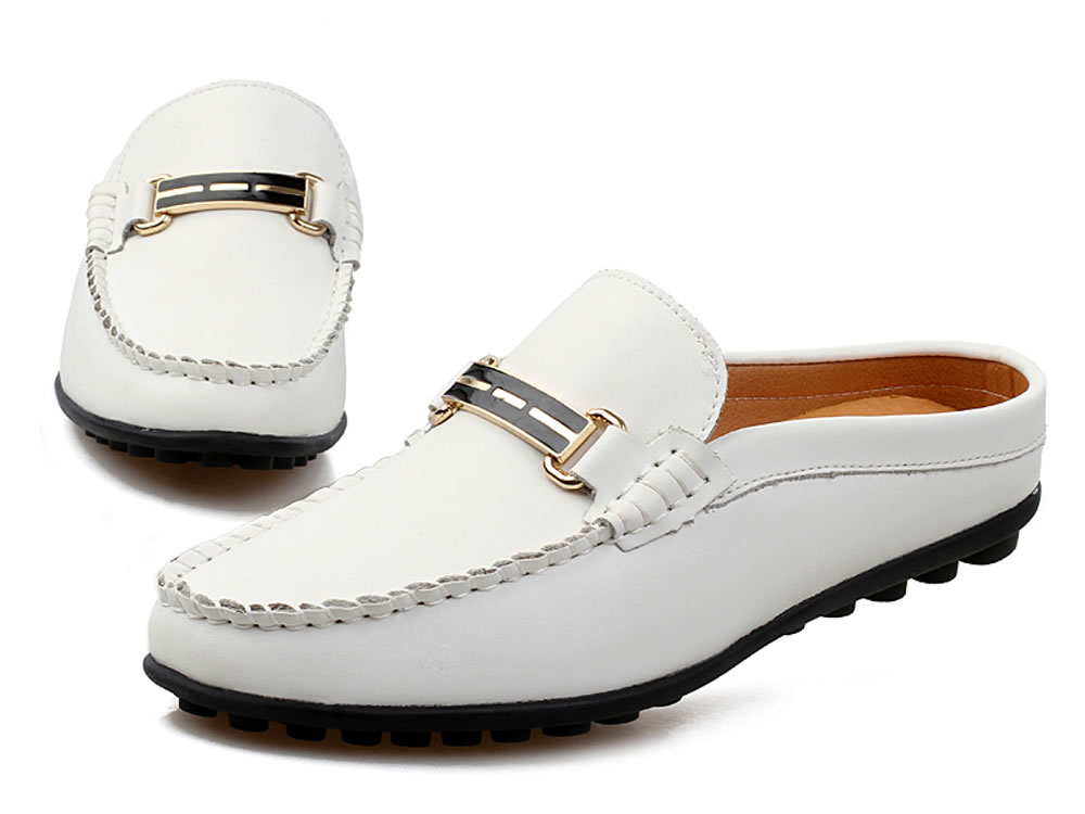V17 White Breathable Cow Leather Slippers Leisure Casuals Shoes