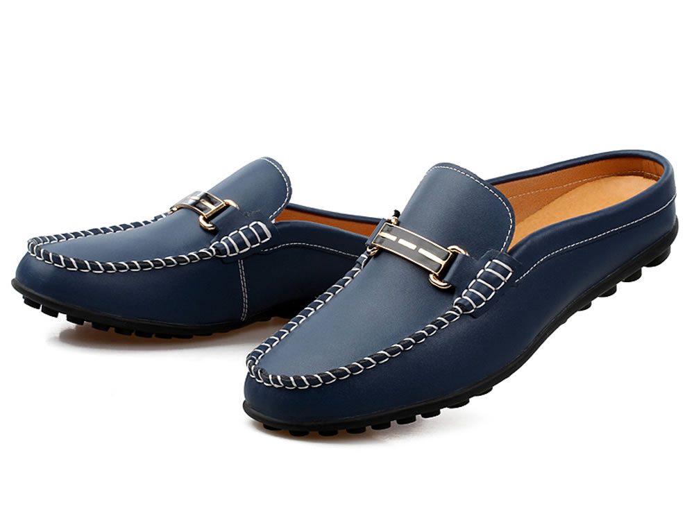 V17 Dark Blue Breathable Cow Leather Slippers Leisure Casuals Shoes
