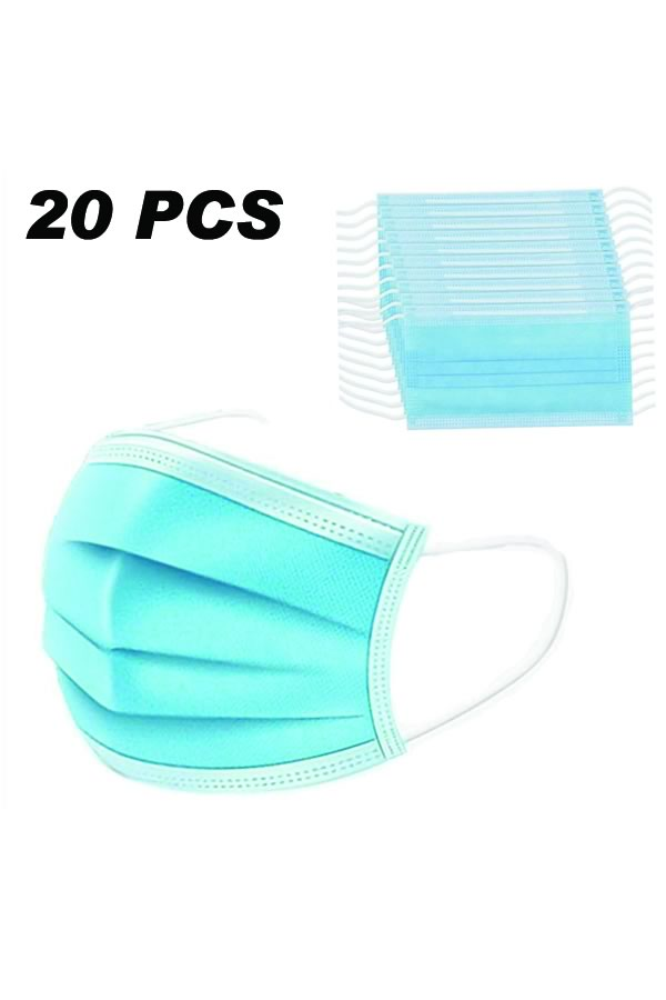 20PCS 3 Layers Disposable Breathable with Elastic Strip
