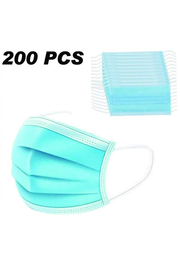 200PCS 3 Layers Disposable Breathable with Elastic Strip