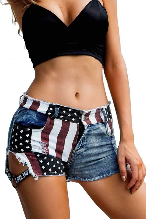 Blue American Flag Side Buckle Ripped High Waisted Denim Shorts