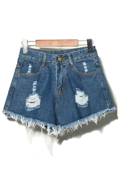 Dark Blue Denim Ripped Hole Distressed High Waisted Jean Shorts