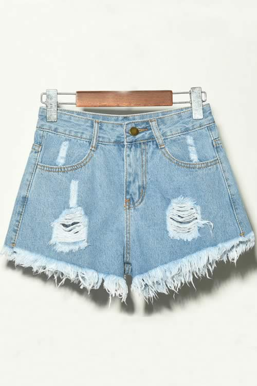 Light Blue Denim Ripped Hole Distressed High Waisted Jean Shorts