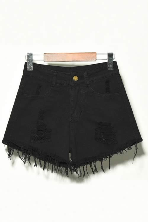 Black Denim Ripped Hole Distressed High Waisted Jean Shorts