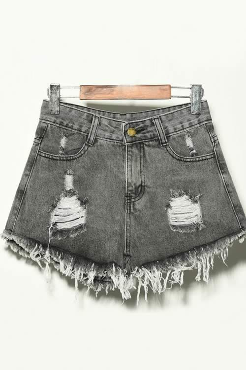 Gray Denim Ripped Hole Distressed High Waisted Jean Shorts