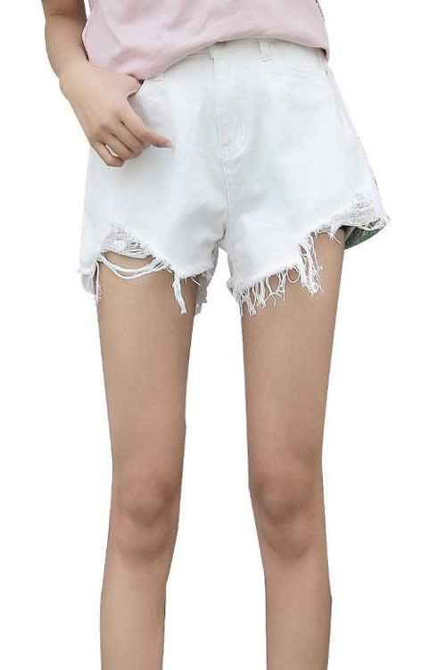 Loose Ripped Hole Edge Fringe High Waisted Denim Shorts in White