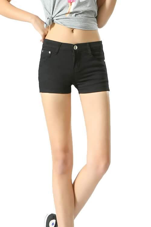 Black Body Shaper Stretch Low Rise Denim Shorts for Women