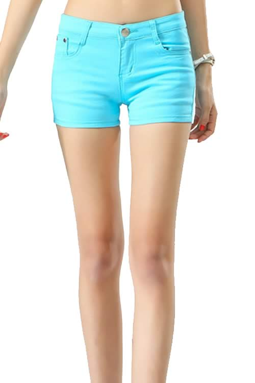 Light Blue Body Shaper Stretch Low Rise Denim Shorts for Women