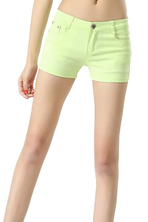 Light Green Body Shaper Stretch Low Rise Denim Shorts for Women