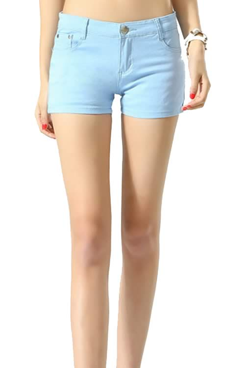 Navy Body Shaper Stretch Low Rise Denim Shorts for Women
