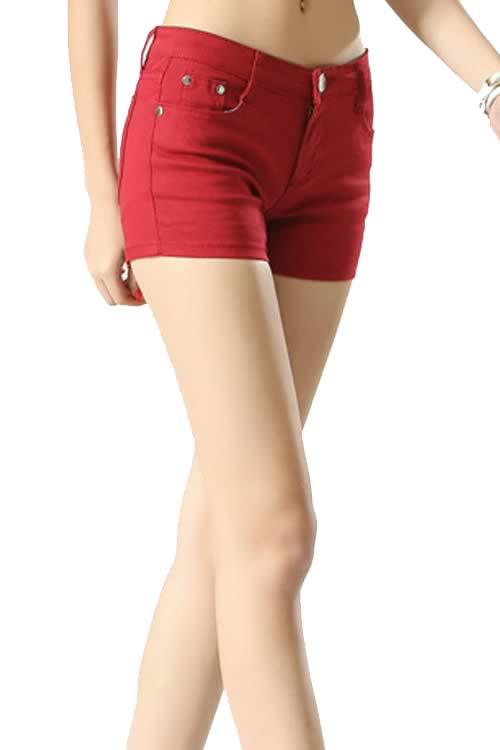 Dark Red Body Shaper Stretch Low Rise Denim Shorts for Women