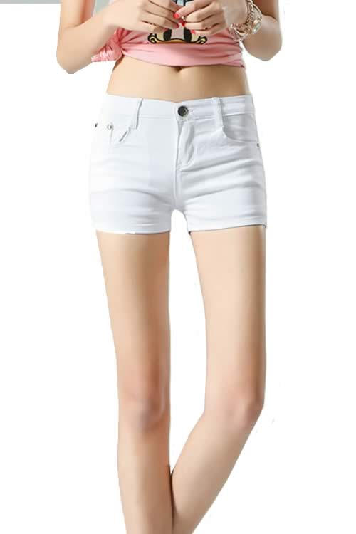 White Body Shaper Stretch Low Rise Denim Shorts for Women