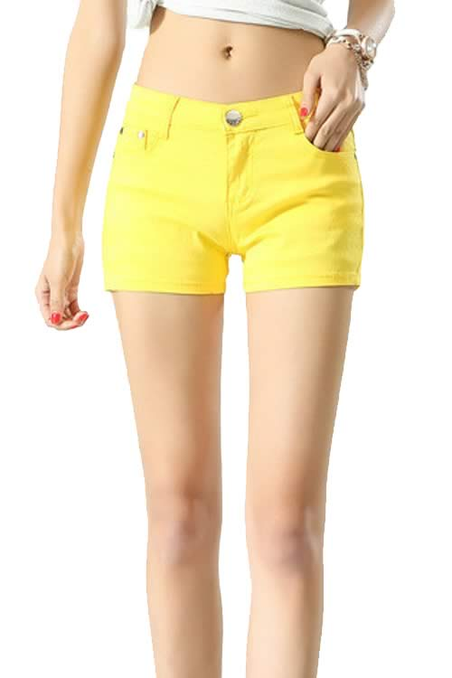 Yellow Body Shaper Stretch Low Rise Denim Shorts for Women