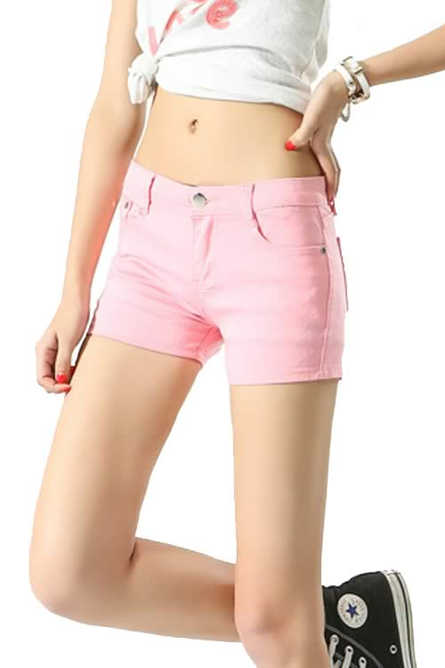 Pink Body Shaper Stretch Low Rise Denim Shorts for Women