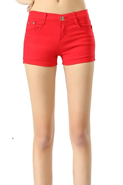 Red Body Shaper Stretch Low Rise Denim Shorts for Women