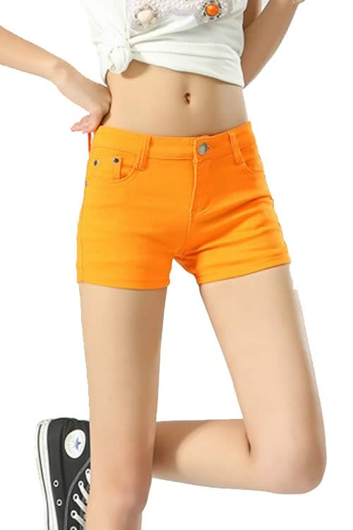 Orange Body Shaper Stretch Low Rise Denim Shorts for Women