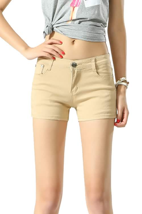 Khaki Body Shaper Stretch Low Rise Denim Shorts for Women