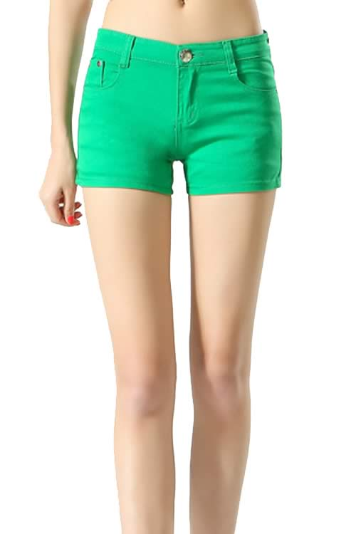 Green Body Shaper Stretch Low Rise Denim Shorts for Women