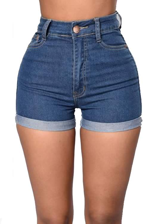 Blue Womens Stretch High Waist Roll Up Cuffed Denim Shorts