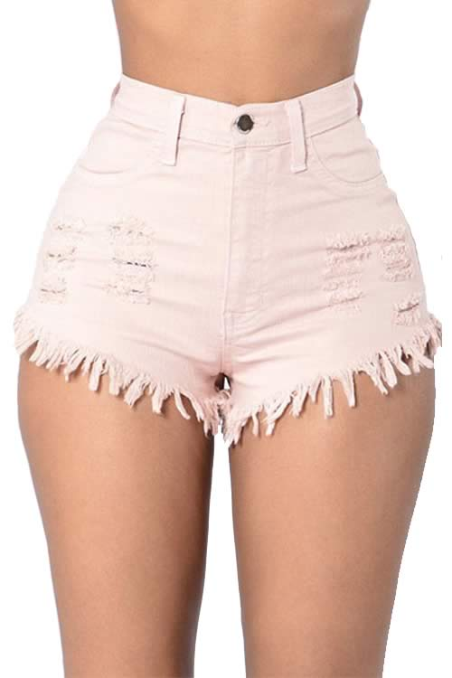 Pink Cut Off Fringe High Waist Distressed Denim Shorts