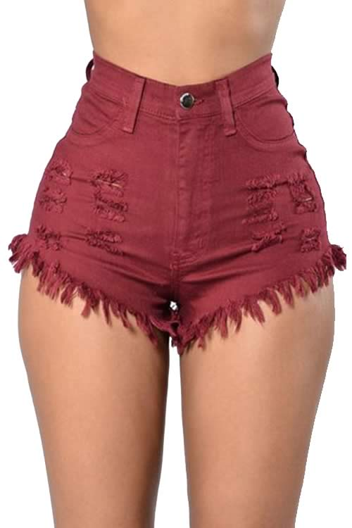 Dark Red Cut Off Fringe High Waist Distressed Denim Shorts