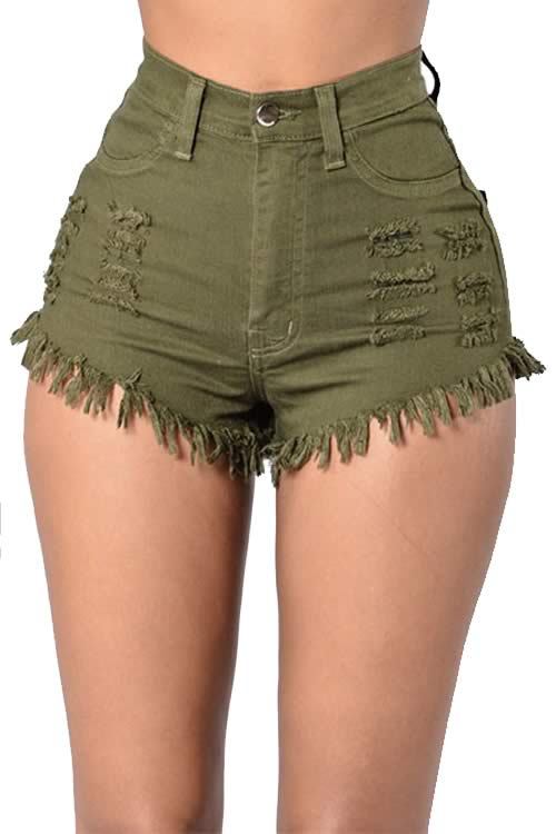 Army Green Cut Off Fringe High Waist Distressed Denim Shorts