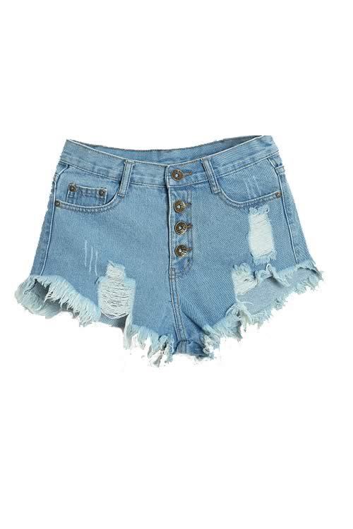 Light Blue Stonewash Ripped Close Fit Fringe High Waist Denim Shorts