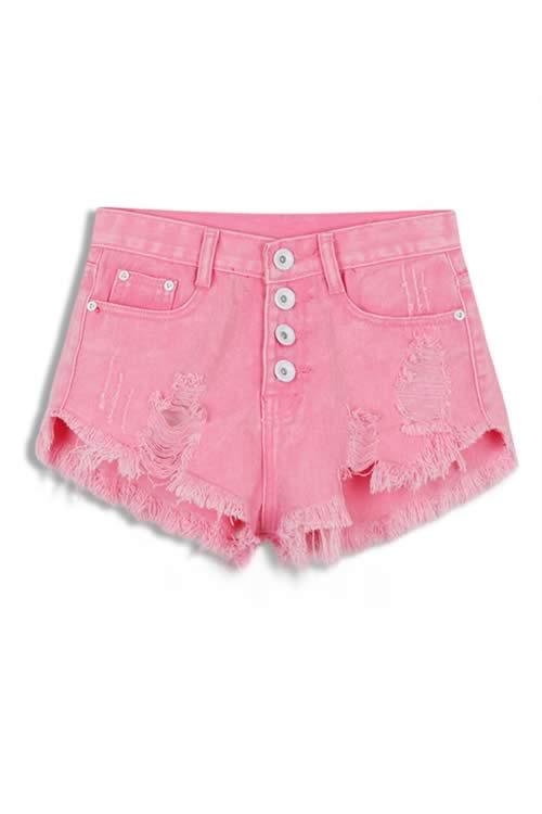 Pink Stonewash Ripped Close Fit Fringe High Waist Denim Shorts