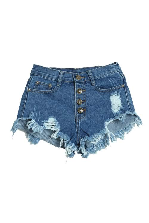 Dark Blue Stonewash Ripped Close Fit Fringe High Waist Denim Shorts