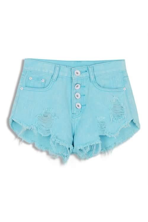 Sky Blue Stonewash Ripped Close Fit Fringe High Waist Denim Shorts