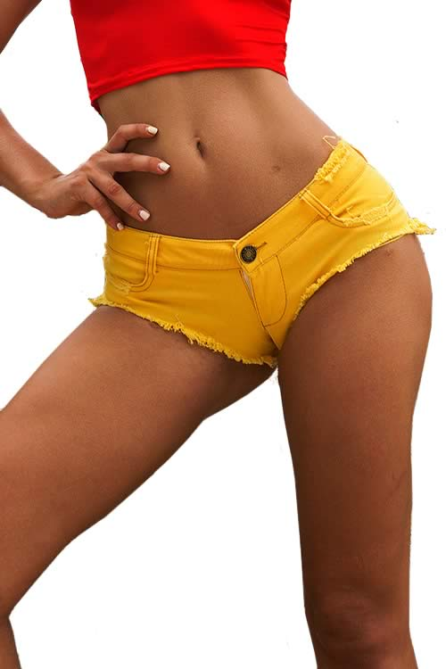 Yellow Sexy Womens Mini Short Jean Cut Off Low Rise Denim Shorts