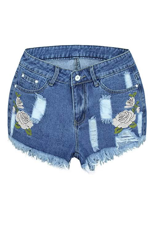 Double Floral Embroidered Women Blue Fringe Ripped Denim Shorts