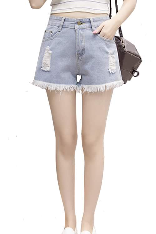 Light Blue Women Ripped Fringe Denim High Waisted Loose Jean Shorts