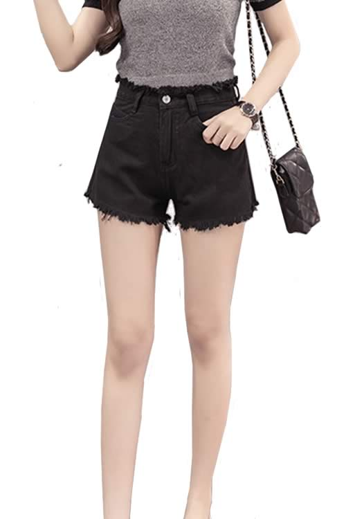Black Women Loose Jean Shorts Fringe High Waisted Denim Shorts