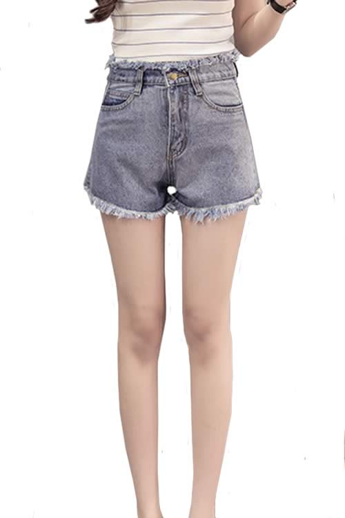 Blue Women Loose Jean Shorts Fringe High Waisted Denim Shorts