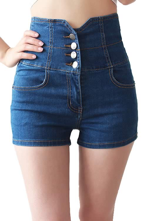 Blue Women Close Fit Cross Bandage High Waist Denim Shorts