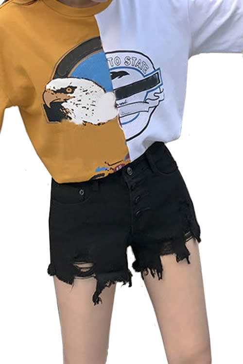 Black Womens Close Fit Cut Off Ripped High Waist Denim Shorts
