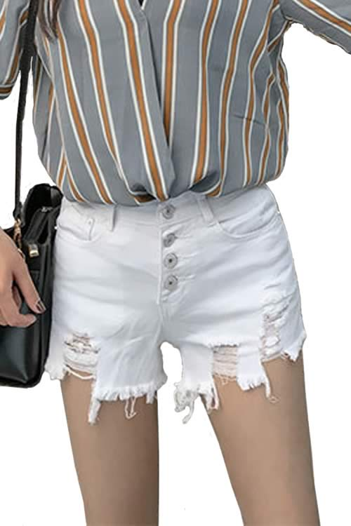 White Womens Close Fit Cut Off Ripped High Waist Denim Shorts