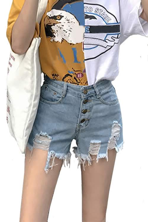 Light Blue Womens Close Fit Cut Off Ripped High Waist Denim Shorts