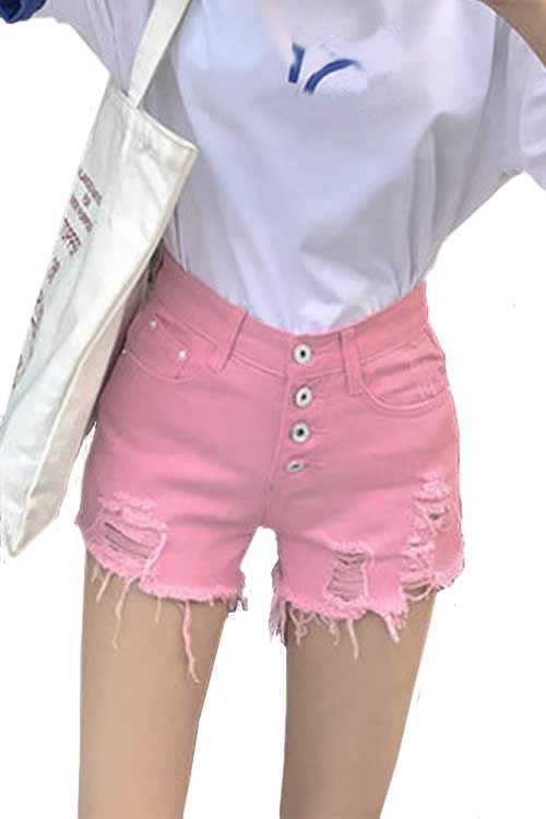 Pink Womens Close Fit Cut Off Ripped High Waist Denim Shorts