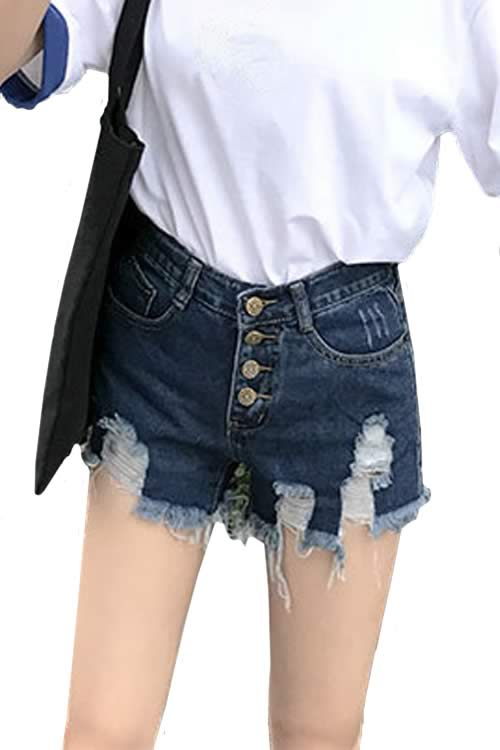 Dark Blue Womens Close Fit Cut Off Ripped High Waist Denim Shorts