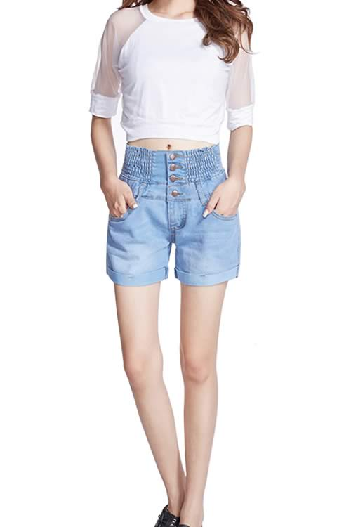 Light Blue Loose Jean Shorts Women Close Fit High Waist Denim Shorts