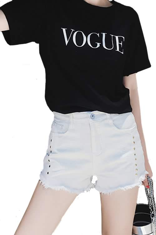 White Sexy Women Rivets Ripped High Waist Loose Denim Shorts