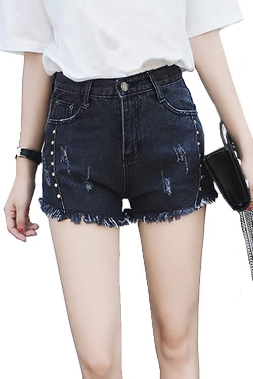 Gray Sexy Women Rivets Ripped High Waist Loose Denim Shorts