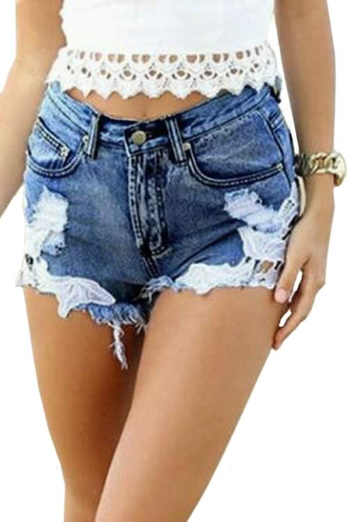 Blue Lace Jean Shorts Fringe Ripped High Waist Denim Shorts