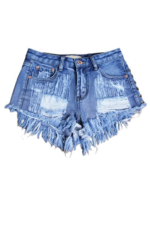 Blue Women Jean Shorts Ripped Rivets Fringe High Waist Denim Shorts